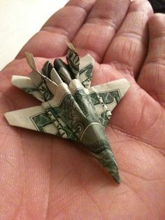 How to Fold an Origami Fighter Jet Out of a Dollar Bill Paper Airplane also perfect for presents origami.wonderhow: The post How to Fold an Origami Fighter Jet Out of a Dollar Bill appeared first on Paper Diy. Diy And Crafts, Crafts For Kids, Arts And Crafts, Money Origami Tutorial, Origami With Money, Don D'argent, Origami 3d, Origami Airplane, Origami Models