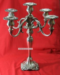 40 Years Old - Wallace Grande Baroque Silverplate Candlestick 5 Taper Candle Candlesticks & Candelabra photo Silver Candelabra, Silver Candlesticks, Silver Chart, Silver Platters, Photo Candles, 40 Years Old, Wooden Bowls, Wedding Humor, Wood Turning