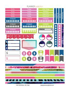 Free Printable Planner Stickers - Tropical Pop Art - Large Happy Planner P2