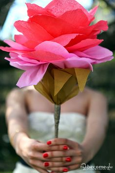 DIY Paper Flower XXL  2become1 - Design&Events Diy Paper, Paper Art, Paper Flowers, Decoration, Bouquet, Rose, Floral, Plants, Pink