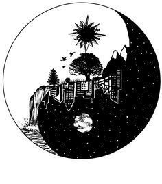 This is an print I'm really proud of. The YingYang of the world.  Hand drawn. And edited with Photoshop. Made for American Joggs.  Buy it @ www.lakota-style.com  Yingyang city landscape drawing moon sun waterfall tattoo idea birds tree skyline mounatins