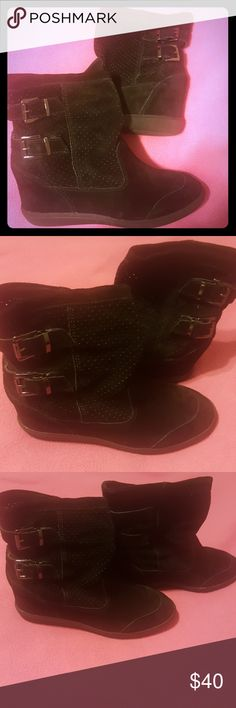Size10 Aldo Buckled Suede Boots These shoes were worn once. You can bundle for 10% off or make me an offer. Aldo Shoes Ankle Boots & Booties