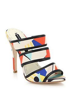 Alice + Olivia - Graciella Leather-Trimmed Printed Sandals