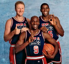 The three biggest stars of the 1992 Dream Team -- Michael Jordan, Larry Bird and Magic Johnson -- pose during a photo shoot in June 1992. The trio and their teammates would put on a show at the Barcelona Summer Olympics two months later.