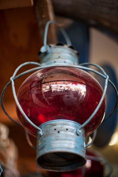 Old ship's lamp at marine salvage yard in West Palm Beach, Florida