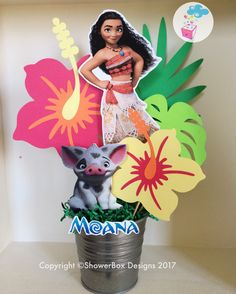 Moana Birthday Centerpiece ShowerBox Events Like us on FB #moanabirthday #myshowerbox