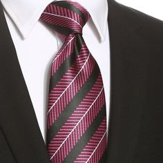 This pink black striped extra long tie would be perfect for any formal or casual occasion. Pink Black, Black Stripes, Extra Long Ties, Men's Wardrobe, Tall Guys, Mens Suits, Dress Suits For Men, Men's Suits