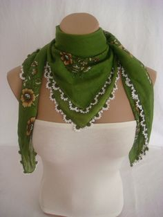 Traditional Turkish Yemeni Cotton Scarf With Lace arzus on etsy $30.00