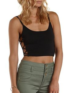 Caged-Side Cotton Crop Top