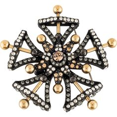 Pre-owned Lanvin Crystal Medals Military Convertible Brooch ($345) ❤ liked on Polyvore featuring jewelry, brooches, lanvin jewelry, crystal jewellery, gold tone jewelry, military fashion and crystal jewelry