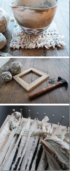 """DIY Woven Table Rugs - love the """"tattered"""" look here, can use any fabric (torn) that you like"""