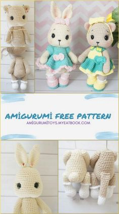 Crochet Baby Toys, Crochet Amigurumi Free Patterns, Crochet Teddy, Crochet Doll Pattern, Crochet Bunny, Diy Crochet, Crochet Dolls, Diy Sewing Projects, Amigurumi Doll