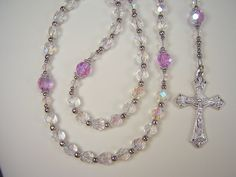 "Mother's Day Rosary Womens Catholic 17 1/2"" Crystal AB and Violet AB Preciosa Czech Glass Beads Madre Las Mujeres Rosario Free Shipping USA by TheGemBeadLink on Etsy"