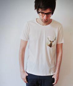 T-Shirts Kurzarm print - DEER POCKET SHIRT - ein Designerstück von prettysucks bei DaWanda