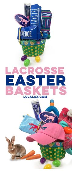 "We're ""hopping"" our way closer to the Easter season! Don't stress about trying to find your lax girl the perfect Easter gift, we've got you covered with our fully-loaded LuLaLax Easter baskets, filled with exclusive gifts that you can only find at LuLaLax.com!"