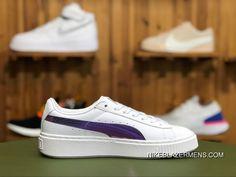 6ce0aac542e1 Puma Basket Platform Rainbow JR 364529-02 Puma White Hollyhock Womens  Skateboarding Shoes Super Deals