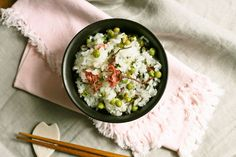 Spring has arrived, green peas rice with cherry blossoms