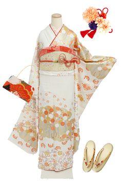縁 -enishi- / 振袖 (成人式・お呼ばれ) Kimono Fashion, Fashion Art, Fashion Dresses, Traditional Kimono, Traditional Dresses, Kimono Japan, Kimono Design, Japanese Costume, Japanese Outfits