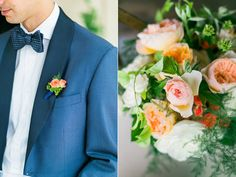 Orange bridal bouquet & grooms boutonniere by Lola Floral - photo by Troy Grover Photographers http://ruffledblog.com/colorful-wedding-at-hotel-ballard