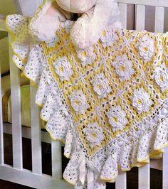 manta em croche para o bebê square flores amarelas em croche com receita