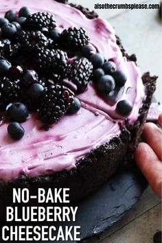Desert Recipes, Gourmet Recipes, Sweet Recipes, Baking Recipes, Cookie Recipes, Lunch Recipes, Soup Recipes, No Bake Blueberry Cheesecake, Blueberry Desserts