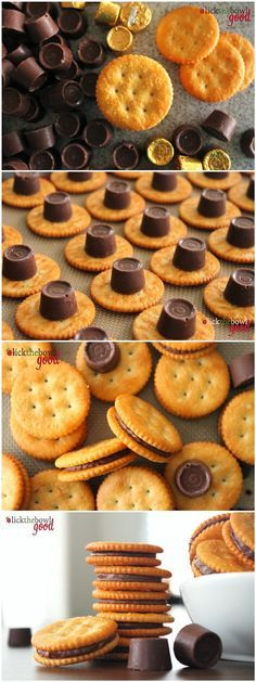 Rolo Stuffed Ritz Crackers - SO GOOD! Try with square pretzels instead of Ritz too!