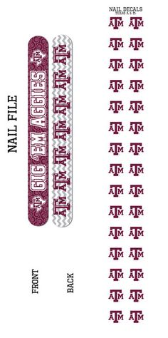 Texas A&M University Nail File and Nail Decals