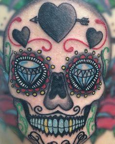 tattoo and design by Jonjon #58BodyArt sugar skull done in okinawa japan