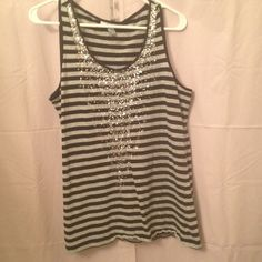 """Selling this """"Super Cute Stripped Tank with front Detailing"""" in my Poshmark closet! My username is: melissam83. #shopmycloset #poshmark #fashion #shopping #style #forsale #Style & Co #Tops"""