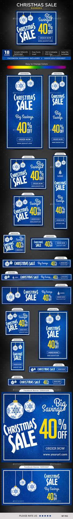 Christmas Sale Web Banners Template PSD #design #ads Download: http://graphicriver.net/item/christmas-sale-banners/13963948?ref=ksioks