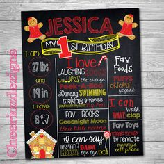 Gingerbread House Birthday Chalkboard Sign, First Birthday Sign, Christmas Chalkboard Sign, Printable, Personalized, Matching by CheeriozDezigns on Etsy