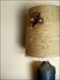 rope lamp shade -- good idea to cover up a shade past its prime at camp