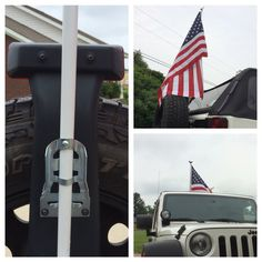 Have seen flag brackets for jeeps as high as $50. I picked this flag and bracket up at Lowe's. it's now on sale for $5. Installed it on stock tire racks using existing hardware. Had to slightly modify the bracket to stand up straight and add a screw to hold in flagpole. Worked great and looks awesome.