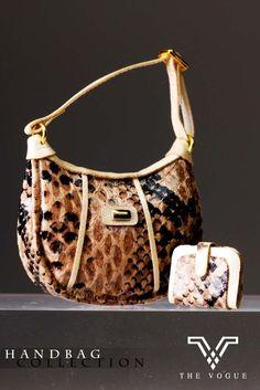 HB1055 The Vogue Brown Snake Print Leather Handbag Set (with Wallet) for FR FR2