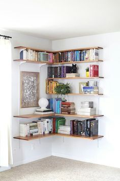 Great Corner Book Shelf Idea Shelves Bedroom Diy Storage