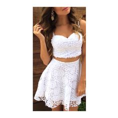 Rotita Lace Strappy Crop Top and Skirt Two Piece Dress ($22) ❤ liked on Polyvore featuring dresses, outfits, vestidos, white, lace cocktail dress, lace-sleeve dress, white sleeveless dress, white cocktail dresses and lace dress