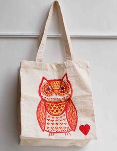 OWL Hand Painted Tote Bag Orange OWL LOVE by redtruckdesigns