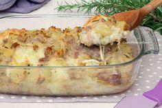 Pasticcio di patate e salsiccia con stracchino e scamorza