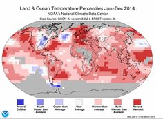 2014 Was The Hottest Year Ever Recorded On Earth // Last year was the warmest on Earth since record keeping began in 1880, according to a National Climatic Data Center report. In 2014, the average global temperature was 58.24°F, which was 1.24°F above the 20th-century average. That made for the highest average temperature recorded in 135 years, surpassing previous records set in 2005 and 2010 by 0.07°F, according to the report. The fourth warmest year was recorded in 1998.