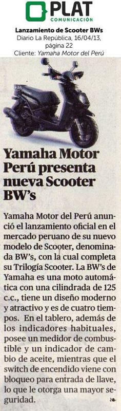 Yamaha: Lanzamiento de scooter BW's en el diario La República de Perú (16/04/13)