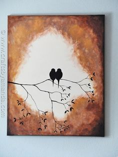 Beautiful Birds on a Branch Silhouette Painting using acrylic paint! @Amanda Snelson Formaro CraftsbyAmanda.com