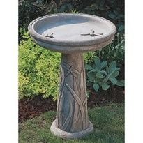 Dragonfly Birdbath      The Dragonfly Birdbath is constructed from premium fiber reinforced cast stone concrete to last a lifetime and finished in the ideal color for your garden. The Dragonfly Birdbath adds a whimsical touch that will provide years of enjoyment in your outdoor living area.   The Dragonfly Birdbath has grass plumes and dragonflies along the the pedestal and a few dragonflies in the water basin itself. This is a great bird bath for a small distinctive garden needing decor…