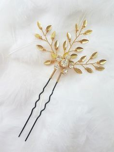 Excited to share the latest addition to my #etsy shop: Gold leaf hair pin for updo, Bridal crystal headpiece, Bridesmaid prom rhinestone hair jewelry, Gold wedding hair accessory #accessories #hair #bobbypin #gold #wedding #thanksgiving #clear #hairpin #hairaccessory http://etsy.me/2hKJbcf