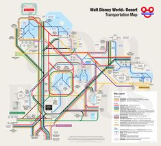 WDW Transportation Map designed to look like a subway map