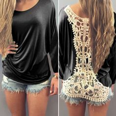 $9.60 Casual Back Hollow Out Crochet Lace Spliced Long Sleeve T-Shirt For Women
