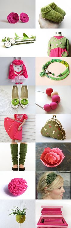 Pink and green! by Karin Pichler on Etsy--Pinned with TreasuryPin.com