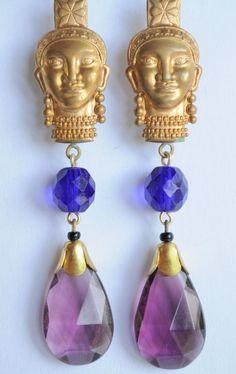 Vintage Raw Brass Earrings Art Nouveau Masai Purple Czech Glass Handmade   #Handmade #DropDangle