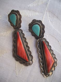 Vintage NAVAJO Orange Spiny Oyster Shell and TURQUOISE EARRINGS, Hand Stamped Sterling Silver 925