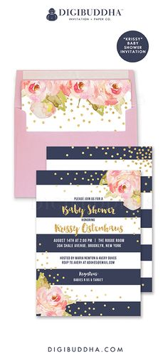 """Gorgeous navy and pink baby shower invitation, """"Krissy"""" style, with navy cabana stripes and pink peonies.  Gold glitter confetti dots, perfect for a girl baby shower!  Coordinating peony envelope liner and pink rose shimmer envelopes also available.  Celebrate life, love, and babies with Digibuddha Invitation + Paper Co."""