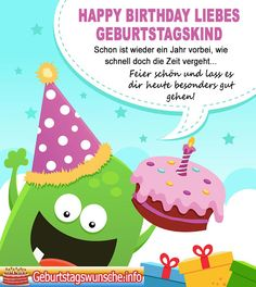 Birthday sayings for children - Geburtstag Birthday Messages, Birthday Quotes, Birthday Wishes, Pastel Goth Quotes, Cool Easy Hairstyles, Horse Birthday, Birthday Cake, Monster Party, Felt Fabric
